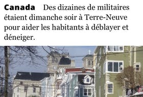 This story, taken from the Tribune de Geneve's website from Geneva, Switzerland, was one of many around the world that featured news about eastern Newfoundland's record-breaking blizzard. SCREEN GRAB