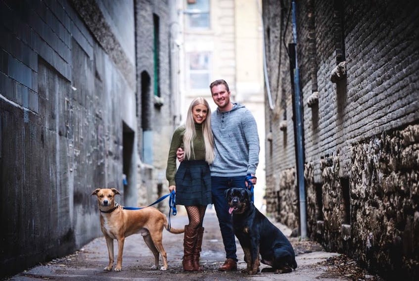 Stephenville's Chelsea Hynes and Brett Swidinsky pose for a photo shortly after getting engaged earlier this year. The pair still plan to get married on Friday. — CONTRIBUTED PHOTO