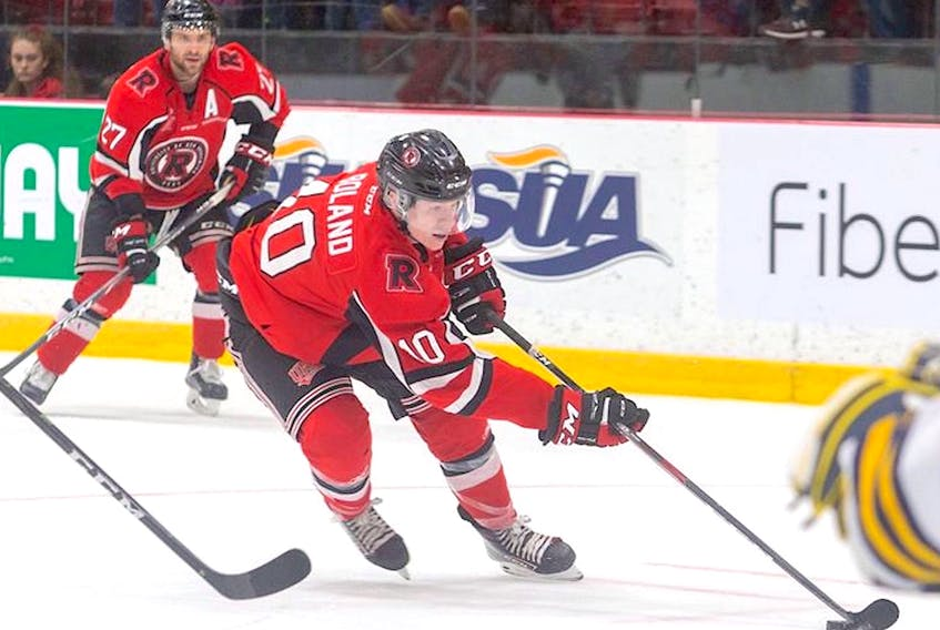 St. John's native Tyler Boland (10) is the leading scorer on the No.-1 ranked university men's hockey team in Canada. — UNB Athletics/Facebook