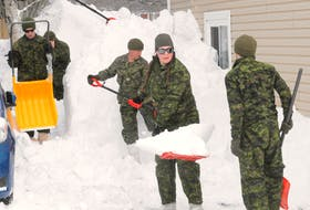 These members of the various Canadian Army units on land in St. John's, N.L., to help with the massive clean-up of the Jan. 17 blizzard. TELEGRAM FILE PHOTO