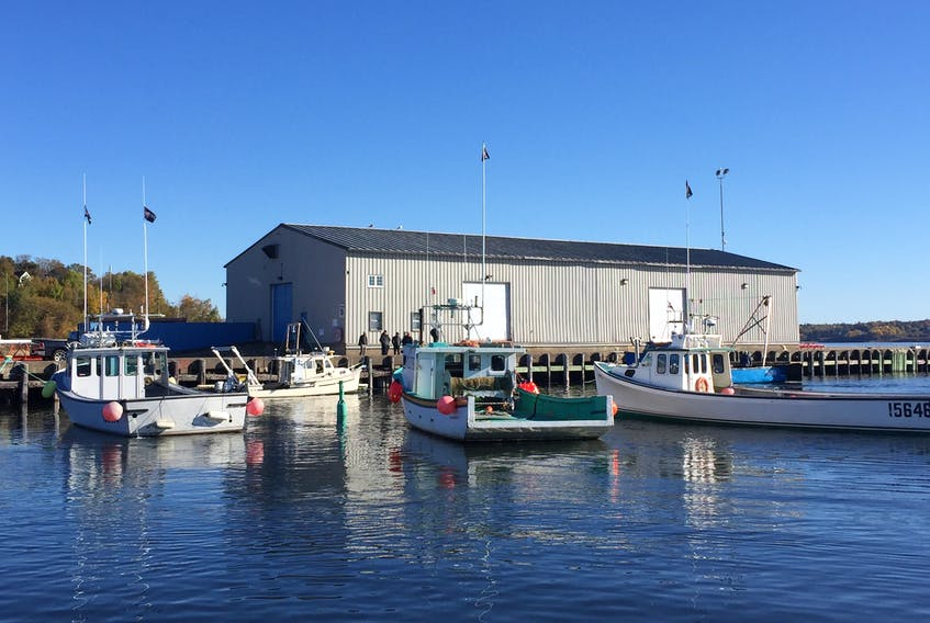 Boats can be seen docked at Pier C in Pictou where a survey boat was forced by fishermen to return to on Tuesday, Oct. 23.
