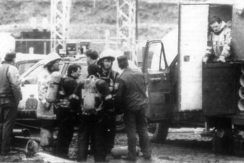 This photo, which first ran in The Evening News on May 10,1992, shows draegermen who rushed to the mine site in Plymouth to help in the rescue attempt for 26 miners trapped at Westray.