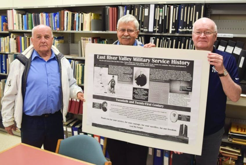 Local historians Philip MacKenzie, Lloyd Tattrie and Clyde Macdonald have partnered on a project that will see an interpretive panel installed near the Sunny Brae War Memorial honouring the military connections of the East River Valley.