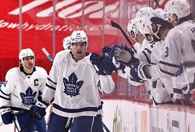 Toronto Maple Leafs centre Auston Matthews celebrates his goal against the Montreal Canadiens Saturday at the Bell Centre in Montreal.