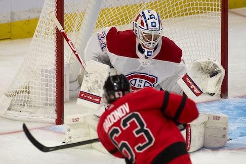 Montreal Canadiens goalie Jake Allen makes a save on a shot from Ottawa Senators forward Evgenii Dadonov in a recently game in Ottawa.