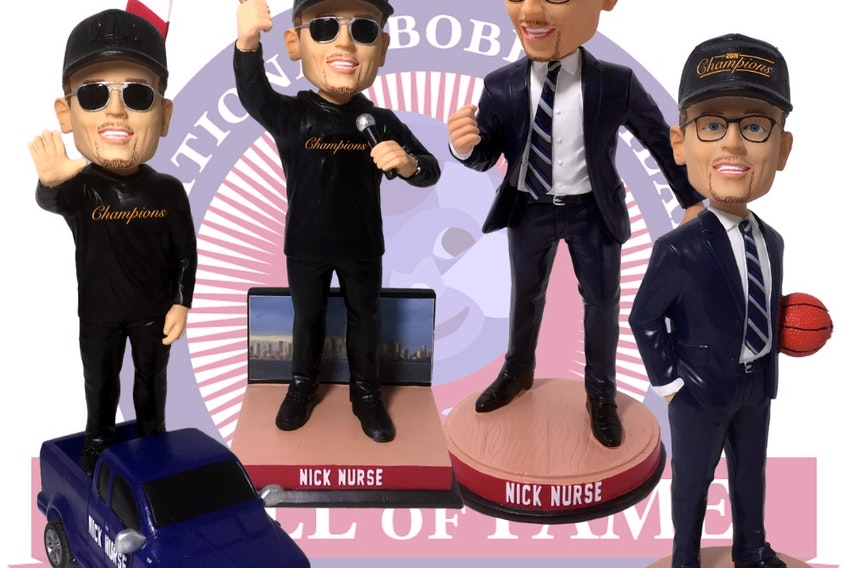 Toronto Raptors head coach Nick Nurse is helping the National Bobblehead Hall of Fame and Museum produce four commemorative bobbleheads to celebrate the one-year anniversary of the Raptors winning the NBA title.