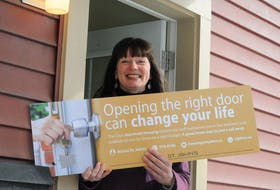 """St. John's Deputy Mayor Sheilagh O'Leary, council lead for affordable housing, on Thursday launched the city's latest campaign, Opening the Right Door Can Change Your Life."""" Joe Gibbons/The Telegram"""