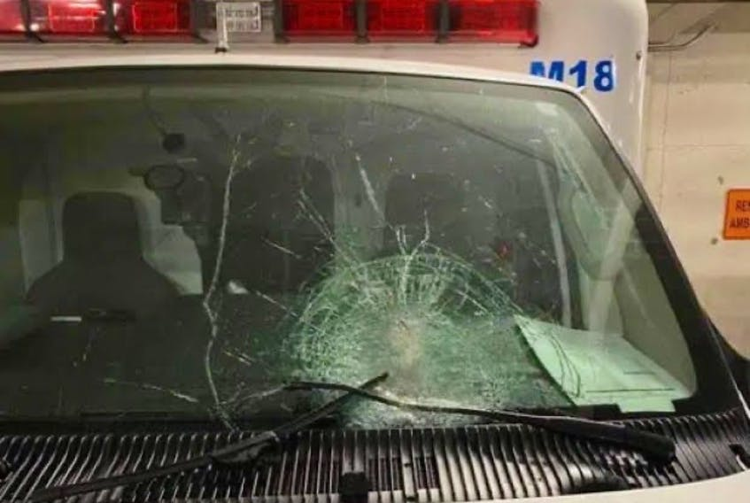 The windshield of this Eastern Health ambulance was smashed last Thursday evening, when someone threw a brick at it while paramedics were en route to an emergency situation. CONTRIBUTED