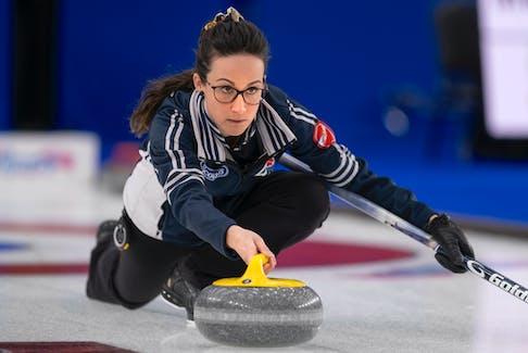 Nova Scotia skip Jill Brothers makes a shot at the Scotties Tournament of Hearts in Calgary. - Andrew Klaver