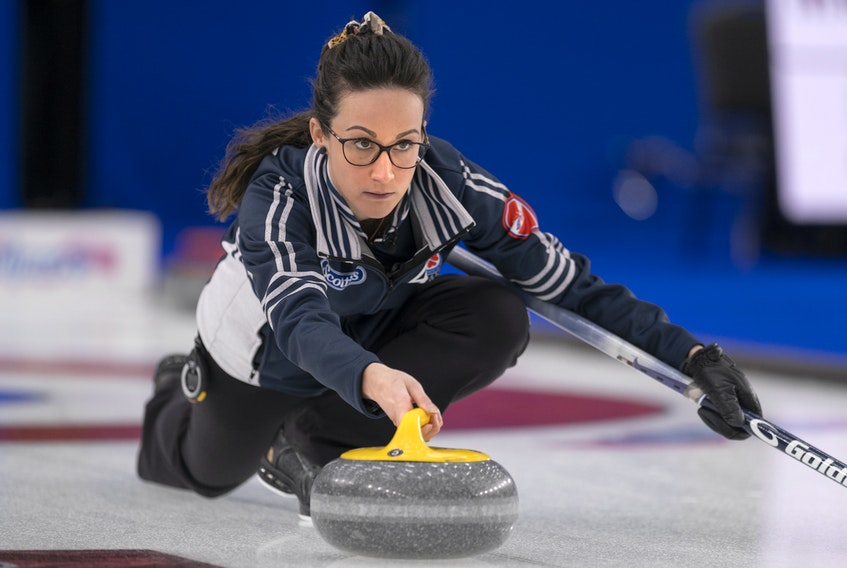 Nova Scotia skip Jill Brothers makes a shot at the Scotties Tournament of Hearts in Calgary. - Andrew Klaver