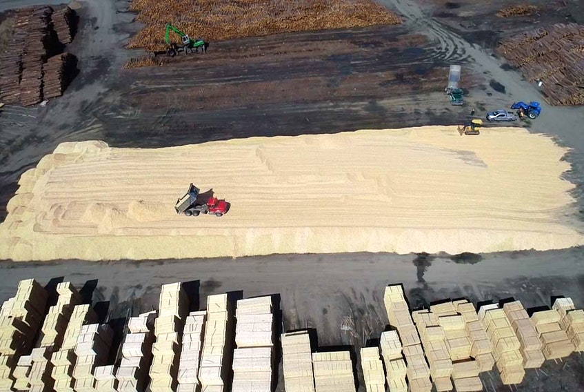 A week's worth of wood chips at Harry Freeman and Son in Greenfield, Queens County. (CONTRIBUTED PHOTO)