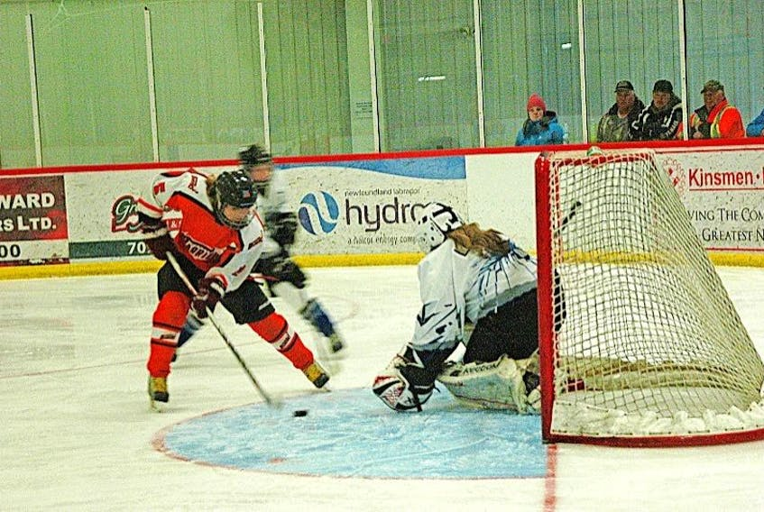 Kaylee Gerrow with the Western Warriors works the puck around the Eastern Icebreakers net minder Monica Lawrence to provide the first goal of the game.