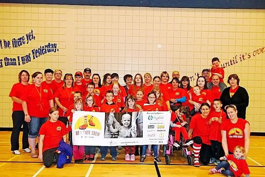 Group gathered at French Shore Academy in Port Saunders for the second Annual Red Shoe Crew Walk for Families.