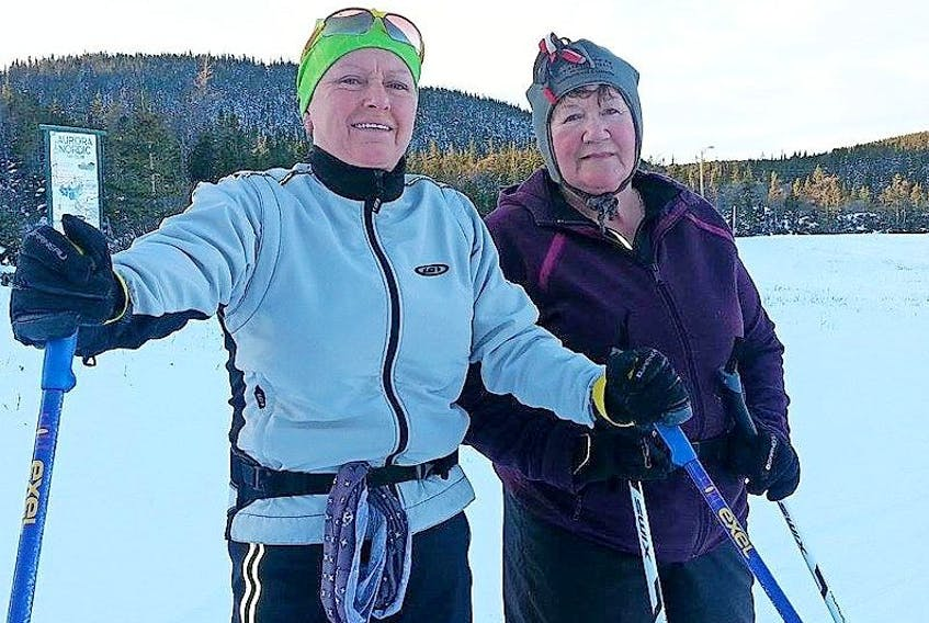 St. Anthony Bight residents Bev Snow, left, and Peggy Simms took advantage of a sunny Jan. 21 to take to the trails of the Nordic Ski Club for a couple of 5K laps. The two encourage everyone to grab their skis or snowshoes as the trails are in great shape.