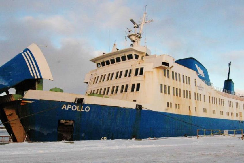 The MV Apollo sits at the dock in St. Barbe during a crossing delay on Dec 29.