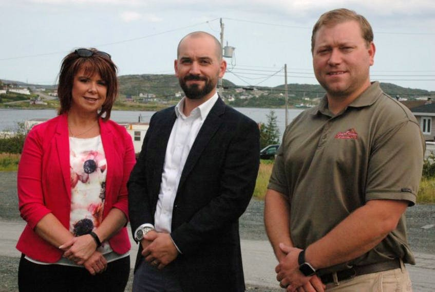 Chris Boivin (center), managing direct of the Green Municipal Fund, met with councils on the Northern Peninsula during his visit, including Roddickton-Bide Arm Mayor Sheila Fitzgerald and St. Anthony Councillor Desmond McDonald.