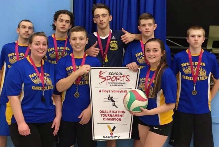 Members of the Mary Simms All-Grade Grizzlies are, front row (left to right): Faith Clarke, Nicholas Walker, Katelynn Russell, and Miguel Whalen; and back row: Christian Reardon, Logan Whiteway, Brandon Brown and Jordan Russell.