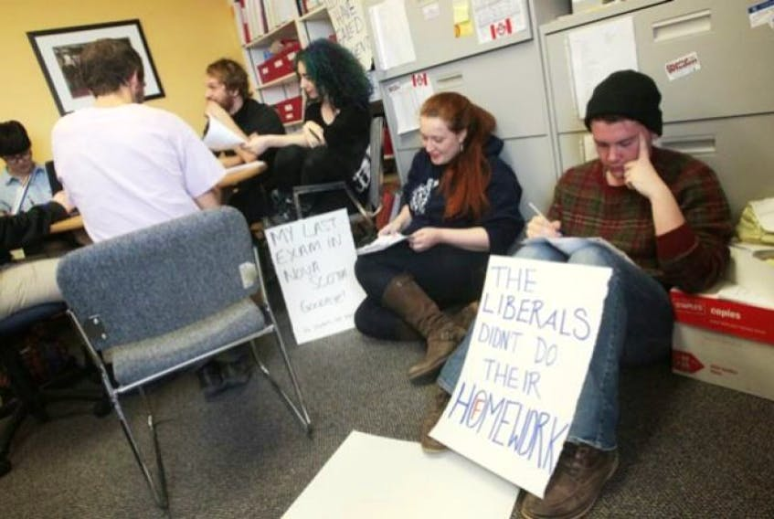 Students are occupying the Nova Scotia finance minister's office to protest tuition changes.