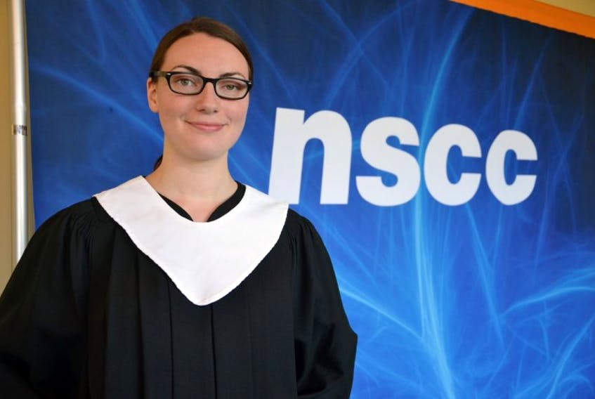 Kelly Krawchuk of Sydney was the valedictorian during the Saturday afternoon graduation ceremony for Nova Scotia Community College Marconi campus students. During her time at the college, Krawchuk, who was in the electronic engineering technician program, won a gold medal at the Nova Scotia Skills Competition and received the Women Innovating in Nova Scotia bursary. She's already been interviewed for jobs in her field, and she fully expects to stay in Nova Scotia.