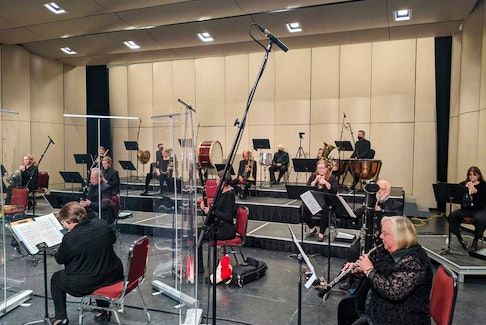 """To present programming while also abiding by social distancing protocols, conductor Marc David divided the NSO into two """"bubbles"""" of 30 musicians. At the Masterworks show on Oct. 2, the first half of the show featured the string sections, with wind and percussion performing in the second half. Submitted photo"""