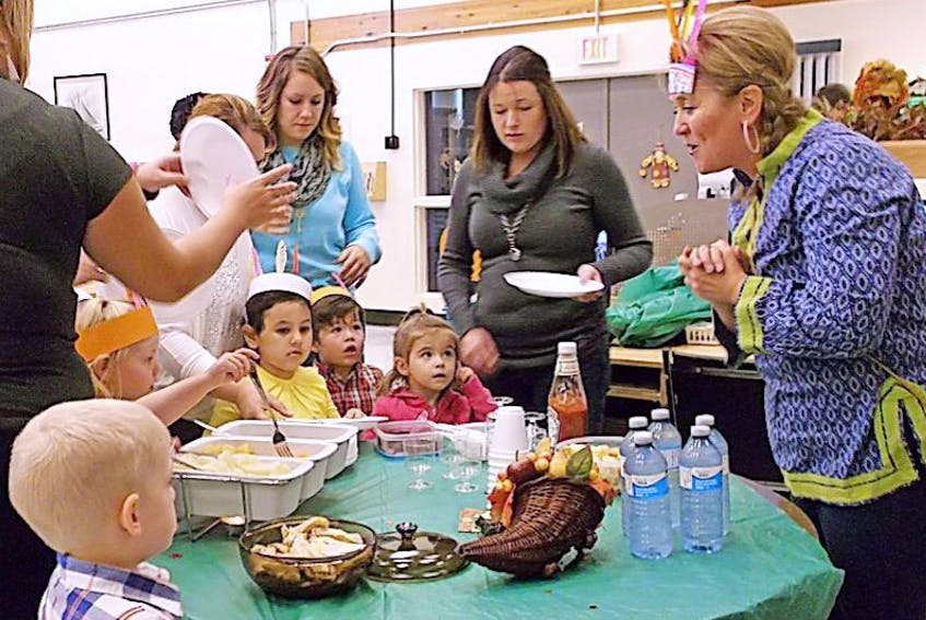 All the little American Indians and pilgrims enjoyed the Thanksgiving Feast during the Thanksgiving storytime at the Library.