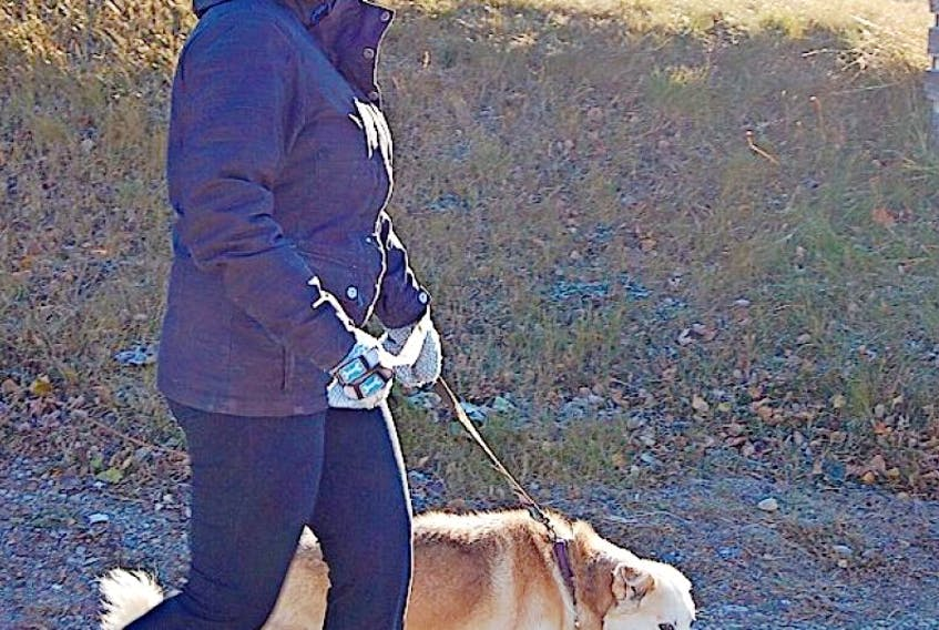 Alexandria Vachon took her dog Violet for a stroll on Remembrance Day, a great day for a brisk walk, according to the young mental health care worker.