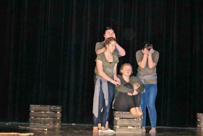 Members of the Ridge Troupers at Copper Ridge Academy in Baie Verte — Samantha Stuckless, Shealyn Foster, Jenna Stacey and Chelsea Greenham — are pictured during a rehearsal of their original play Elegiac.