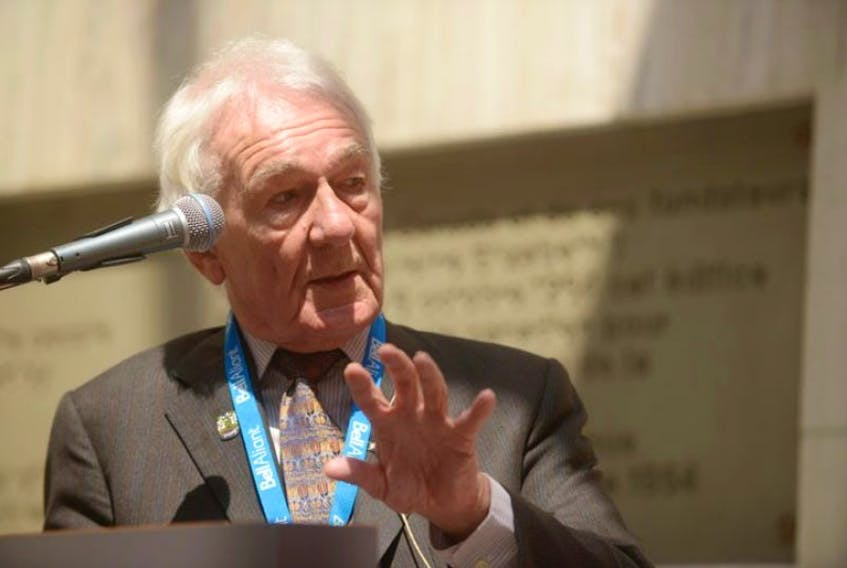 Journalist and historian Richard Gwyn speaks to an audience about Confederation in Memorial Hall in Charlottetown, P.E.I. in May 2014. — File photo