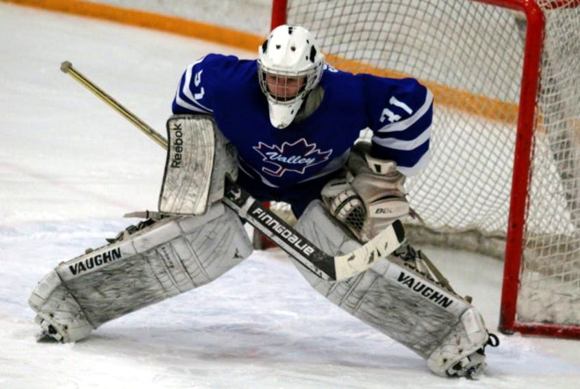 <p>Olafr Schmidt, pictured here Feb. 20 in Windsor, was strong in nets for the Valley Maple Leafs when they travelled to Lantz Feb 22, stopping 30 of 34 shots on net.</p>
