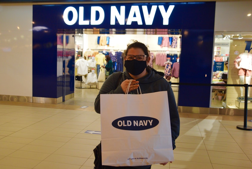 Krista MacNeil was one of the first customers to visit the new Old Navy store at the Mayflower Mall in Sydney. DAVID JALA/CAPE BRETON POST