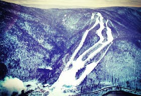 An overview of Ski Cape Smokey. Breton Air and Cape Smokey Holdings Ltd. are joining forces and offering heli-skiing on Friday and Saturday, which will provide participants a tour of the area by helicopter and then will let them out at the top of Cape Smokey to ski down the 300-vertical drop. The top of the hill hasn't been accessible to skiers in two decades due to the lift to that section of the hill not being in operation. Contributed photo