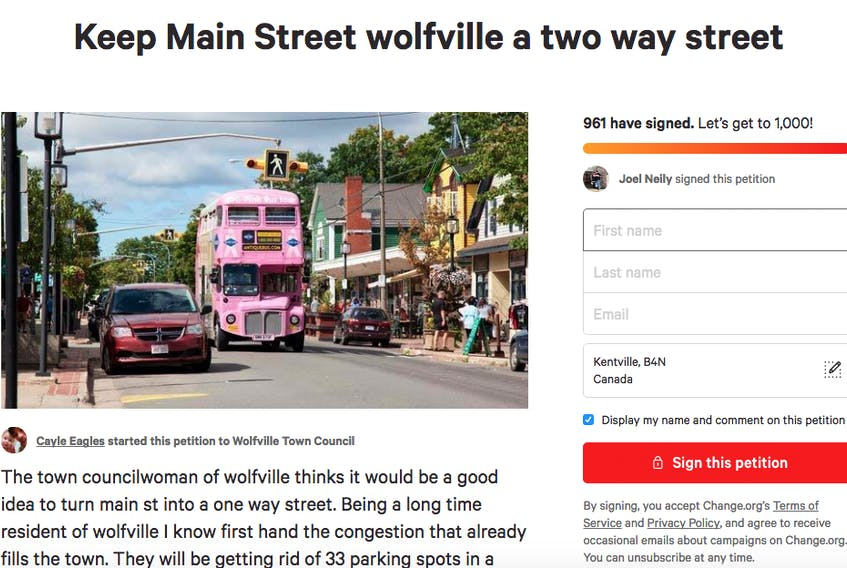 """This screenshot shows the number of people who have signed the online petition """"Keep Main Street Wolfville a two way street"""" as of 1 p.m. on June 29."""