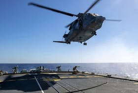 The Cyclone helicopter that crashed off the coast of Greece on April 29 is shown in this Feb. 15 photo operating from HMCS Frederiction.