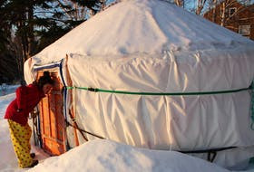 Davis Sullivan checks out one of the yurts at Cabot Shores Wilderness Resort and Retreat Centre on Feb. 26, during a morning walk around the grounds. We stayed in a similar yurt, called the Forest Yurt, which was a bit larger than this one. NICOLE SULLIVAN/CAPE BRETON POST