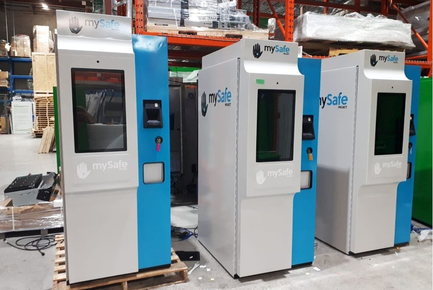 MySafe Verified Identity Dispensers are shown in this undated handout photo.  The machines are akin to ATMs and allow drug users at risk of overdose to get hydromorphone pills dispensed to them after their palm has been scanned to identify its unique vein pattern.