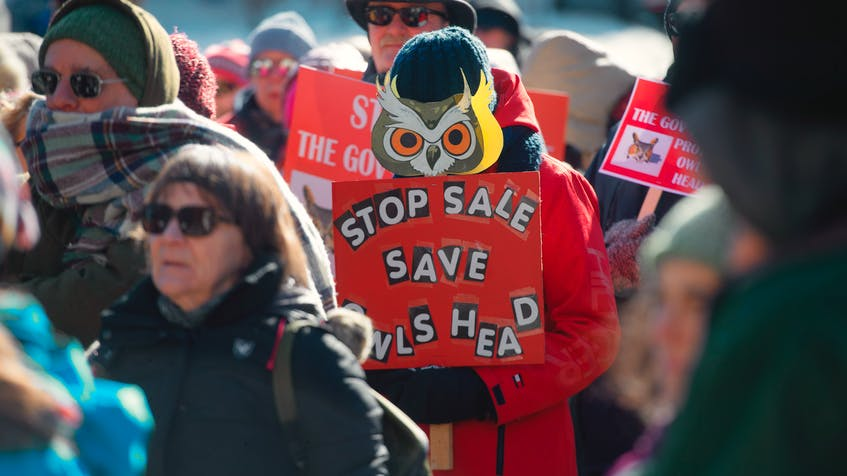 Protesters rally Thursday, Feb. 20, 2021, at Province House in Halifax, N.S. against the proposed sale of the Owls Head park. - Ryan Taplin