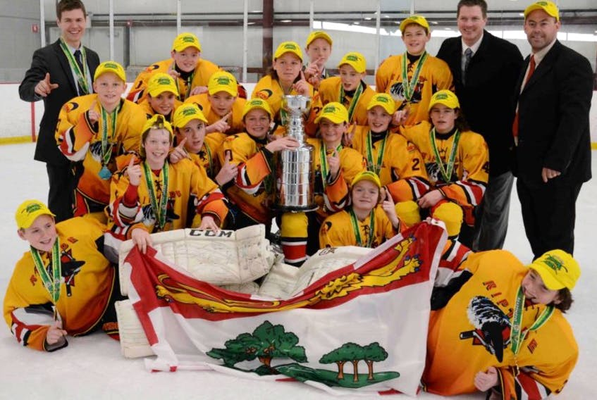 """<span class=""""Normal"""">Members of the Riptide are front row, from left, Jonah Arbing, Colin Goodwin and Logan Birt. Second row, from left, Keiran Gallant, Devin Howatt, Austin Callaghan, Marc Richard, Evan Nause and Noah Griffin. Third row, from left, coach Josh Andrews, Nigel Morris, William Proud, Cole Larkin, Austin Arsenault, Dixon MacLeod, Isaac Wilson, Logan Callaghan, Jeremie Gagnon, coach Marc Nause and manager Todd Gallant.</span>"""