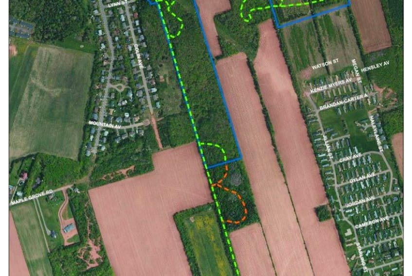 Updated map of the public trails accessible in Rotary Friendship Park. Public trails are marked in green, private property marked in orange.