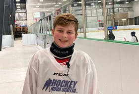 Logan Munden, an 11-year-old para hockey player from Fall River, returned to the ice in December just two months after he had surgery to have his foot amputated. - Glenn MacDonald / THE CHRONICLE HERALD