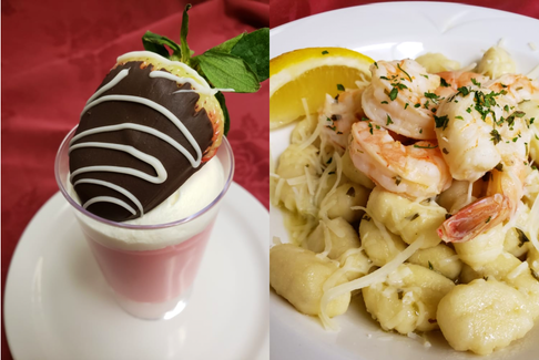 Parkland Truro's Valentine's Day meal included chocolate-covered strawberries and gnocchi with shrimp, all prepared by executive chef James Betts. - Photo Contributed.