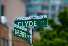 Street signs designate the historic community of Schmidtville in Halifax.