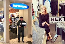 """Paul Thomey (left), the owner of That Pro Look, says Avalon Mall management has been very cooperative in letting him use an entrance for curbside pick-ups during his closure. NEXT Clothing Company owner Gail Decker launched an e-commerce site and says she's been """"amazed"""" at how well it's taken off. -Contributed."""