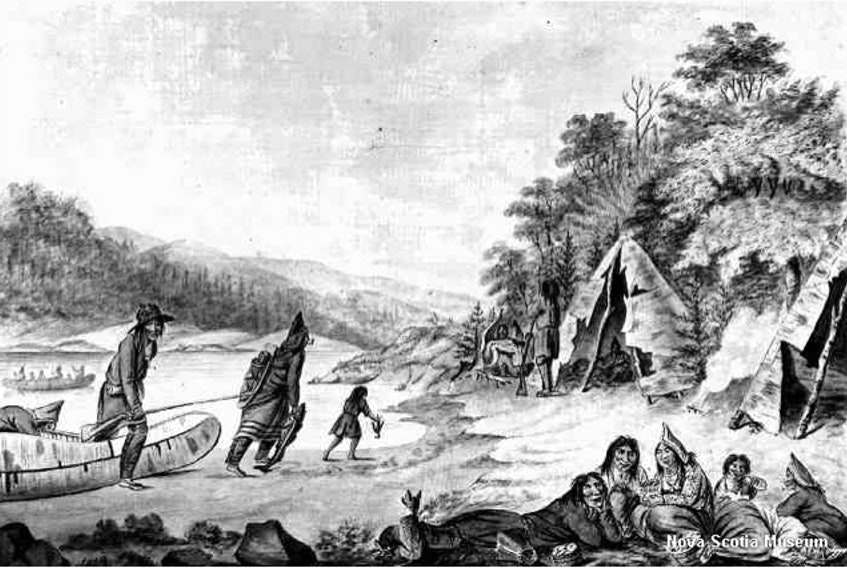 Mi'kmaq Encampment by Hibbert Binney, c. 1791. Painted in same time period as letters discussed in column. Contributed • Nova Scotia Museum