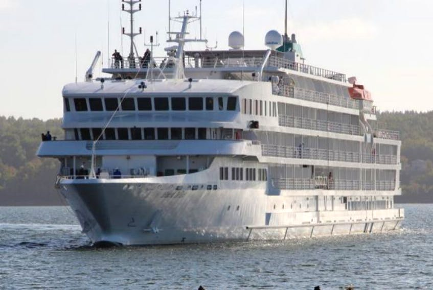 The Pearl Mist cruised into Pictou today to for a day-long visit carrying 200 passengers from the United States and Canada. The guests will visit various locations in Pictou County before sailing out at suppertime tonight. A second cruise ship will visit Pictou County October 25.