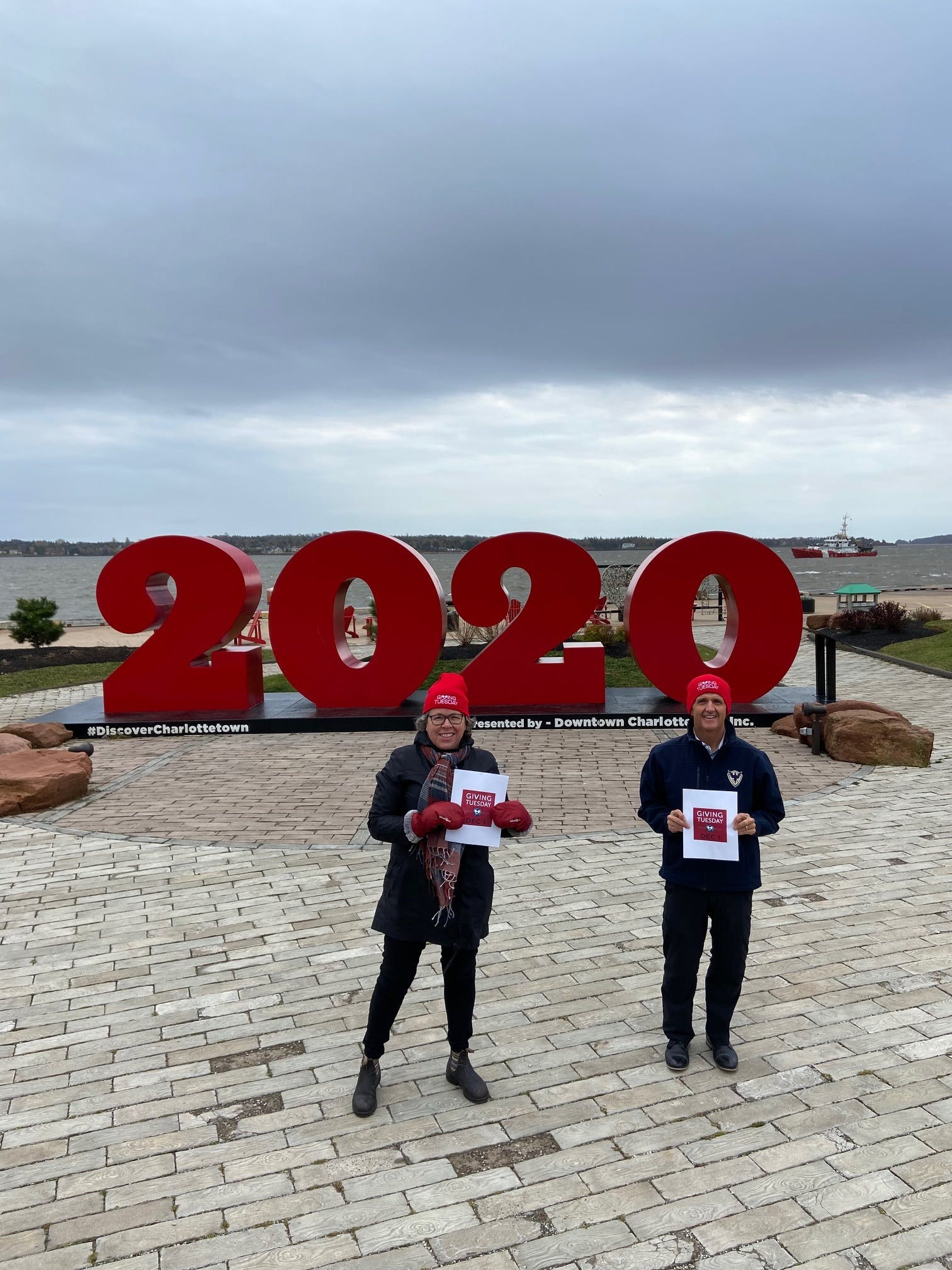 Helen Chapman and Kent Hudson, representing P.E.I.'s Giving Tuesday, invite Islanders to join the movement on Twitter, Instagram and Facebook at PEI Gives.