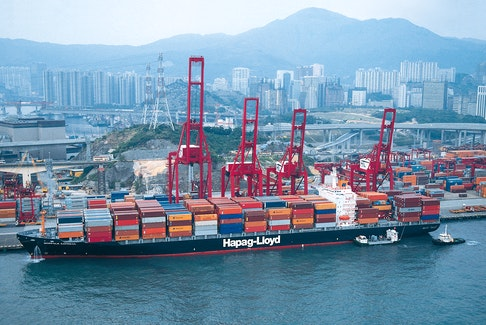 Hapag-Lloyd's Norfolk Express docked at a terminal. The Alliance, which includes container lines Hapag-Lloyd, Ocean Network Express and Yang Ming, is making schedule adjustments that affect service in Halifax.