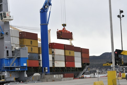 An MSC container ship visits the Port of Corner Brook. With a strike in Montreal increasingly likely, MSC has recently had more vessels call in Halifax.
