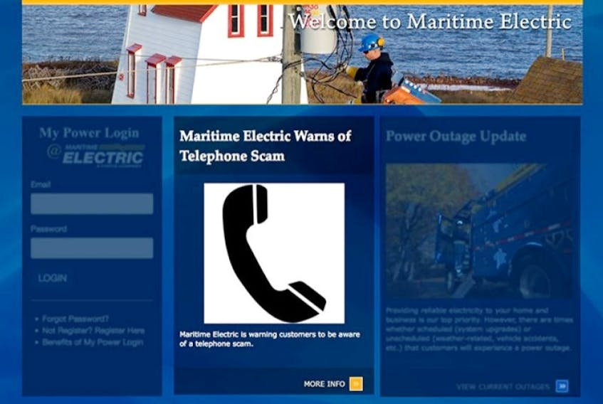 Maritime Electric web site graphic