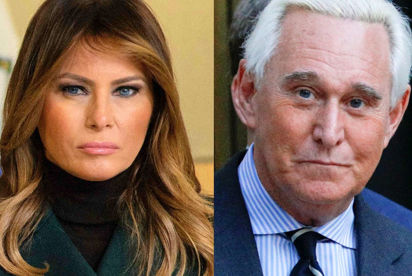 U.S. First Lady Melania Trump and Roger Stone, longtime friend to President Donald Trump.
