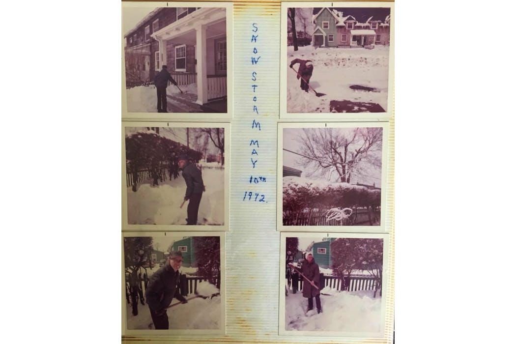 Janine Angela Musolino Sanford's family photo album preserves memories of the May 10, 1972, snow storm that hit Nova Scotia and Newfoundland and Labrador. Her grandparents Harold and Iris Johnson, as well as her great-grandfather Gerald A. Hatter shovelling snow in the Hydrostone neighborhood of Halifax, N.S.